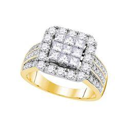 2.02 CTW Princess Diamond Cluster Bridal Engagement Ring 14KT Yellow Gold - REF-209K9W