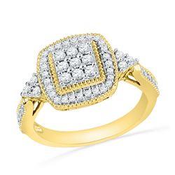 0.50 CTW Diamond Square Cluster Milgrain Ring 10KT Yellow Gold - REF-44F9N