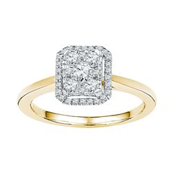 0.33 CTW Diamond Square Cluster Ring 10KT Yellow Gold - REF-30K2W