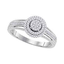 0.20 CTW Diamond Cluster Bridal Wedding Engagement Ring 10KT White Gold - REF-22H4M