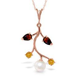 Genuine 2.7 ctw Garnet, Citrine & Pearl Necklace Jewelry 14KT Rose Gold - REF-29W7Y