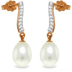 Genuine 8.28 ctw Pearl & Diamond Earrings Jewelry 14KT Rose Gold - REF-43P3H
