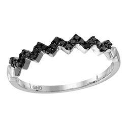 0.12 CTW Black Color Diamond Chevron Ring 10KT White Gold - REF-10W5K