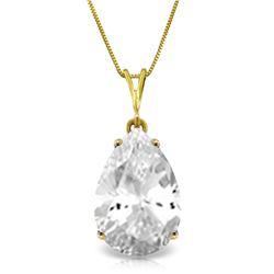 Genuine 5 ctw White Topaz Necklace Jewelry 14KT Yellow Gold - REF-30X3M