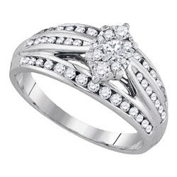 0.62 CTW Princess Diamond Cluster Bridal Engagement Ring 14KT White Gold - REF-75N2F