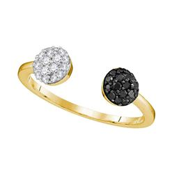 0.33 CTW Black Color Diamond Bisected Ring 10KT Yellow Gold - REF-19W4K