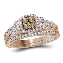0.50 CTW Cognac-brown Diamond Bridal Wedding Engagement Ring 14KT Rose Gold - REF-82K4W