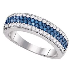 0.85 CTW Blue Color Diamond Ring 10KT White Gold - REF-37X5Y
