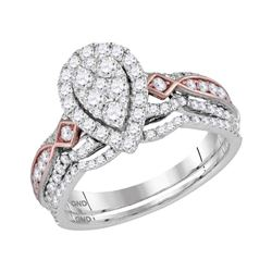 1 CTW Diamond Teardrop Bridal Engagement Ring 14KT Two-tone Gold - REF-104X9Y