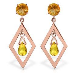 Genuine 2.4 ctw Citrine Earrings Jewelry 14KT Rose Gold - REF-39X3M