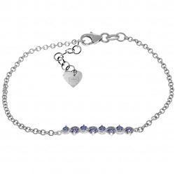 Genuine 1.55 ctw Tanzanite Bracelet Jewelry 14KT White Gold - REF-65H2X