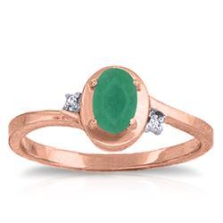 Genuine 0.51 ctw Emerald & Diamond Ring Jewelry 14KT Rose Gold - REF-32K3V