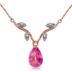 Genuine 1.52 ctw Pink Topaz & Diamond Necklace Jewelry 14KT Rose Gold - REF-31T2A
