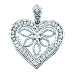0.10 CTW Diamond Vintage-style Heart Outline Pendant 10KT White Gold - REF-14M9H