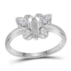 0.10 CTW Diamond Butterfly Bug Cluster Ring 10KT White Gold - REF-19K4W