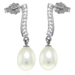 Genuine 8.28 ctw Pearl & Diamond Earrings Jewelry 14KT White Gold - REF-43T3A