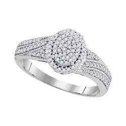 0.33 CTW Diamond Oval Cluster Bridal Engagement Ring 10KT White Gold - REF-28W4K