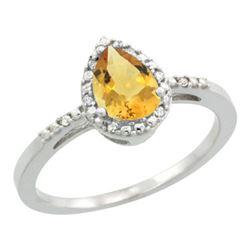 Natural 1.53 ctw citrine & Diamond Engagement Ring 14K White Gold - REF-25W5K