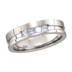 0.50 CTW Mens Princess Channel-set Diamond Single Row Ring 14KT White Gold - REF-120F2N
