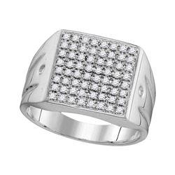 0.51 CTW Mens Diamond Polished Square Cluster Ring 10KT White Gold - REF-44W9K