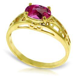 Genuine 1.15 ctw Pink Topaz Ring Jewelry 14KT Yellow Gold - REF-32K3V
