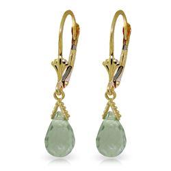 Genuine 5 ctw Green Amethyst Earrings Jewelry 14KT Yellow Gold - REF-23F5Z