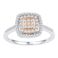 0.38 CTW Diamond Square Cluster Ring 10KT Two-tone Gold - REF-30H2M