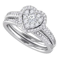 0.75 CTW Princess Diamond Heart-shaped Halo Bridal Ring 14k White Gold - REF-112N5F