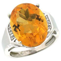 Natural 11.02 ctw Citrine & Diamond Engagement Ring 14K White Gold - REF-65G8M