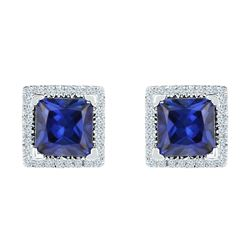 2 CTW Princess Created Blue Sapphire Stud Earrings 10KT White Gold - REF-13F4N