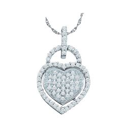 0.25 CTW Diamond Heart Lock Pendant 10KT White Gold - REF-22Y4X