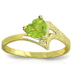 Genuine 0.60 ctw Peridot Ring Jewelry 14KT Yellow Gold - REF-35P9H