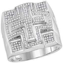 0.55 CTW Mens Diamond Domed Cross Cluster Ring 10KT White Gold - REF-71M9H