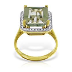 Genuine 5.8 ctw Green Amethyst & Diamond Ring Jewelry 14KT Yellow Gold - REF-82P2H