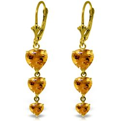 Genuine 6 ctw Citrine Earrings Jewelry 14KT Yellow Gold - REF-66N9R