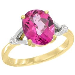 Natural 2.41 ctw Pink-topaz & Diamond Engagement Ring 10K Yellow Gold - REF-24G6M