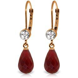 Genuine 6.63 ctw Ruby & Diamond Earrings Jewelry 14KT Rose Gold - REF-29V7W