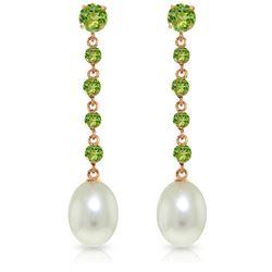 Genuine 10 ctw Peridot & Pearl Earrings Jewelry 14KT Rose Gold - REF-32W4Y