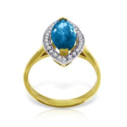 Genuine 2.4 ctw Blue Topaz & Diamond Ring Jewelry 14KT Yellow Gold - REF-71P2H