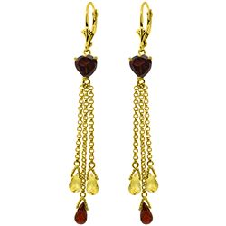 Genuine 9.5 ctw Garnet & Citrine Earrings Jewelry 14KT Yellow Gold - REF-62Y2F