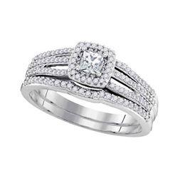 0.50 CTW Princess Diamond Bridal Engagement Ring 10KT White Gold - REF-58N4F