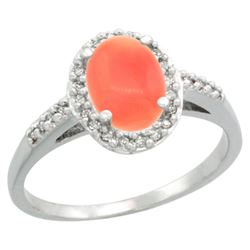 Natural 1.25 ctw Coral & Diamond Engagement Ring 14K White Gold - REF-31N9G
