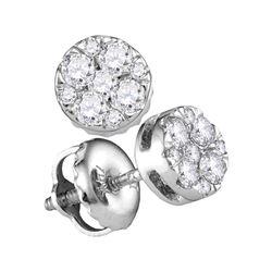 0.25 CTW Diamond Cluster Earrings 14KT White Gold - REF-25F4N