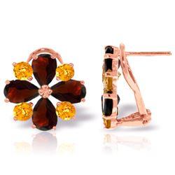 Genuine 4.85 ctw Garnet & Citrine Earrings Jewelry 14KT Rose Gold - REF-58V4W