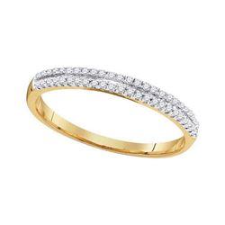 0.15 CTW Diamond Double Row Ring 10KT Yellow Gold - REF-8W9K