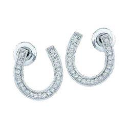 0.15 CTW Diamond Horseshoe Lucky Screwback Stud Earrings 10KT White Gold - REF-16F4N