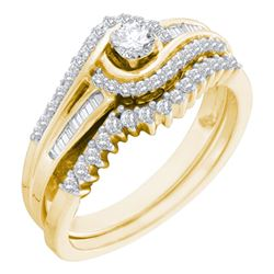 0.50 CTW Diamond Swirl Bridal Engagement Ring 10KT Yellow Gold - REF-47F9N