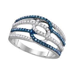 0.46 CTW Blue Color Diamond Ring 10KT White Gold - REF-26K9W