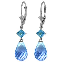 Genuine 11 ctw Blue Topaz Earrings Jewelry 14KT White Gold - REF-39W3Y