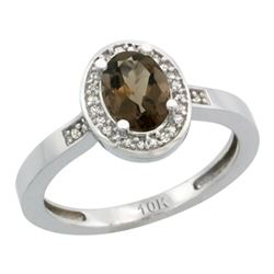Natural 1.08 ctw Smoky-topaz & Diamond Engagement Ring 14K White Gold - REF-31R3Z